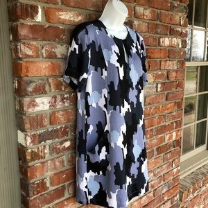 "Mudpie ""MARGOT"" blue & black camo shift dress M"